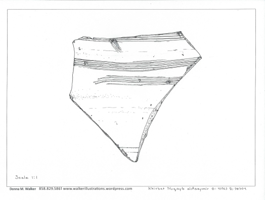 Ceramic sherd with comb markings. Scale 1:1