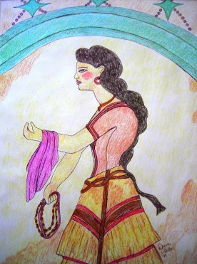 """House of the Ladies"" in Akrotiri on Thera. Fresco of a Minoan woman illustrated in Prismacolor."